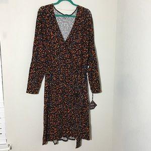 NWT Ava & Viv Faux Wrap Dress Splatter Print Sz 4X